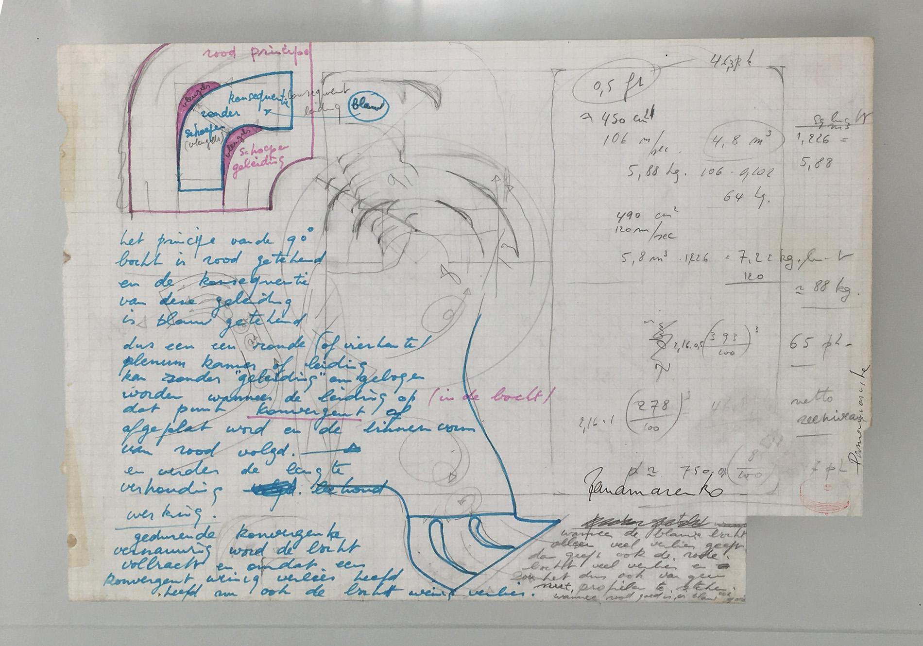 Panamarenko | Originele tekening (dubbelzijdig - achter glas) 1980